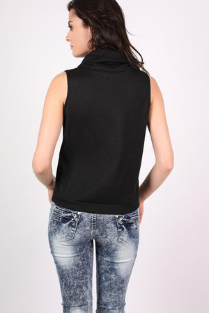 Sleeveless Cowl Neck Knitted Top in Black 4