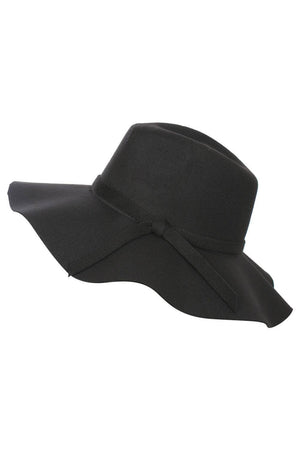 Wide Brim Fedora Hat in Black 2