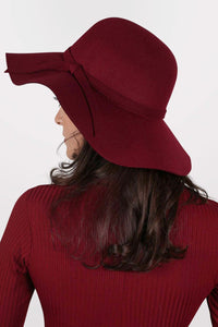 Floppy Self Fabric Band Hat in Wine Red 1