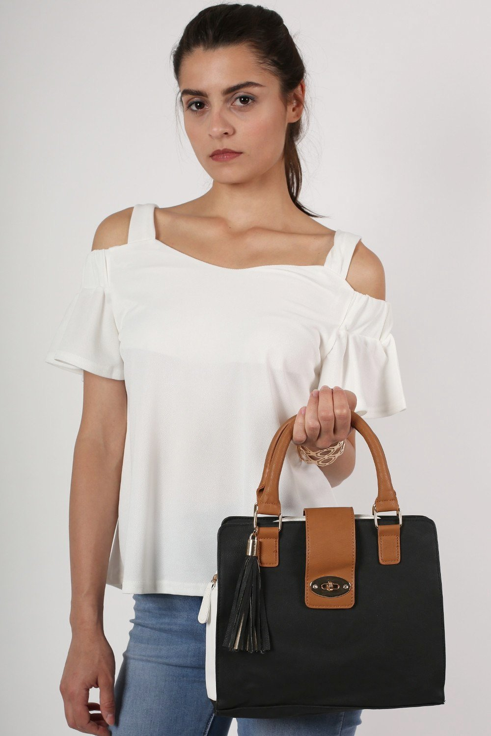 Colour Block Structured Bag in Black 0