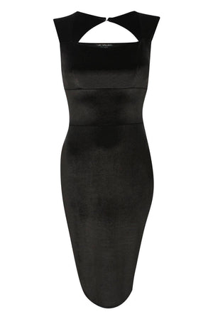 Velvet Bodycon Midi Dress in Black 2