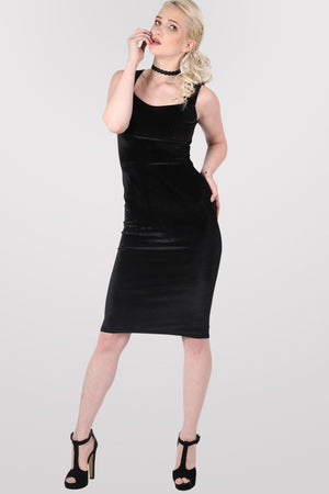 Velvet Bodycon Midi Dress in Black 1
