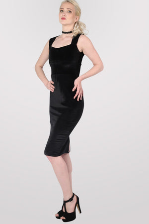 Velvet Bodycon Midi Dress in Black 3