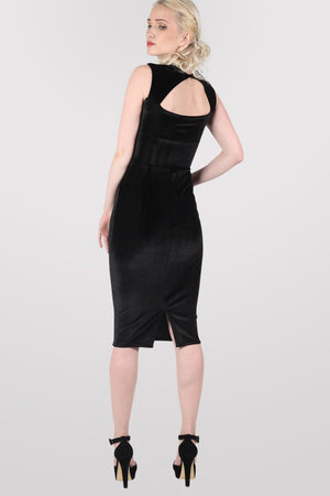 Velvet Bodycon Midi Dress in Black 4
