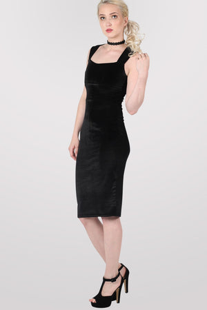 Velvet Bodycon Midi Dress in Black 5
