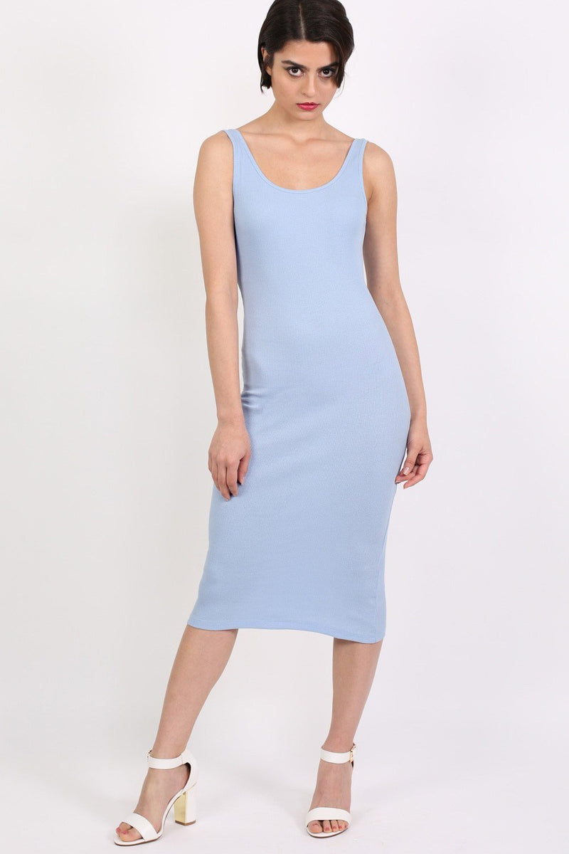 Sleeveless Ribbed Midi Dress in Pale Blue 1