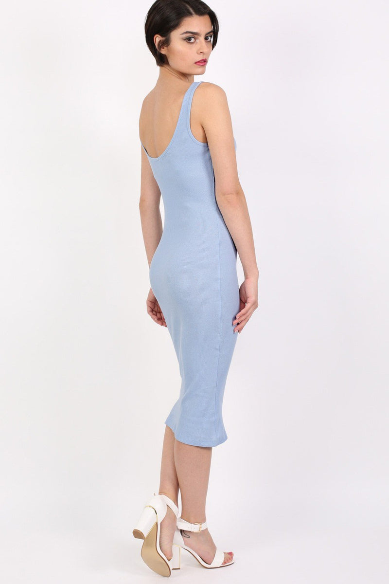 Sleeveless Ribbed Midi Dress in Pale Blue 2