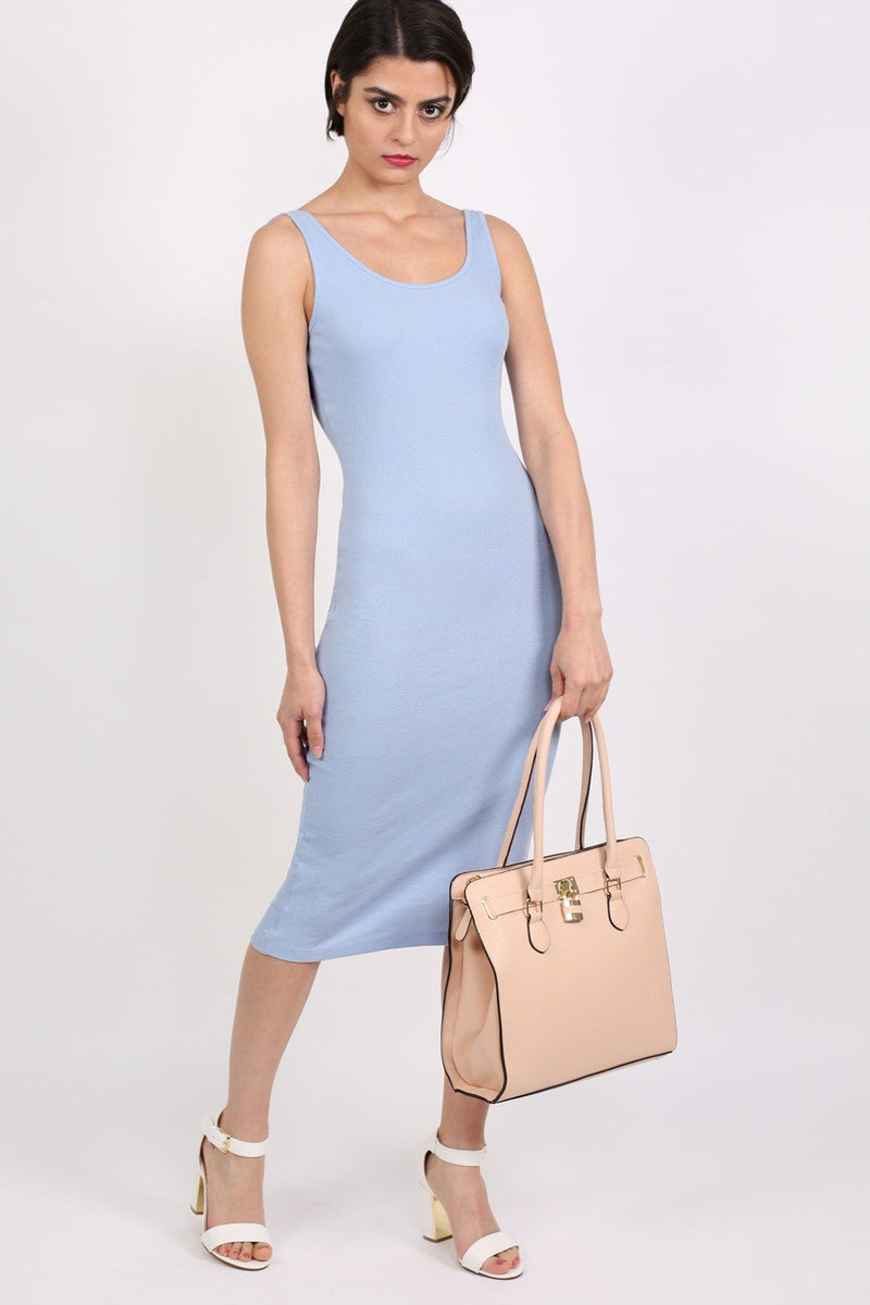 Sleeveless Ribbed Midi Dress in Pale Blue 4