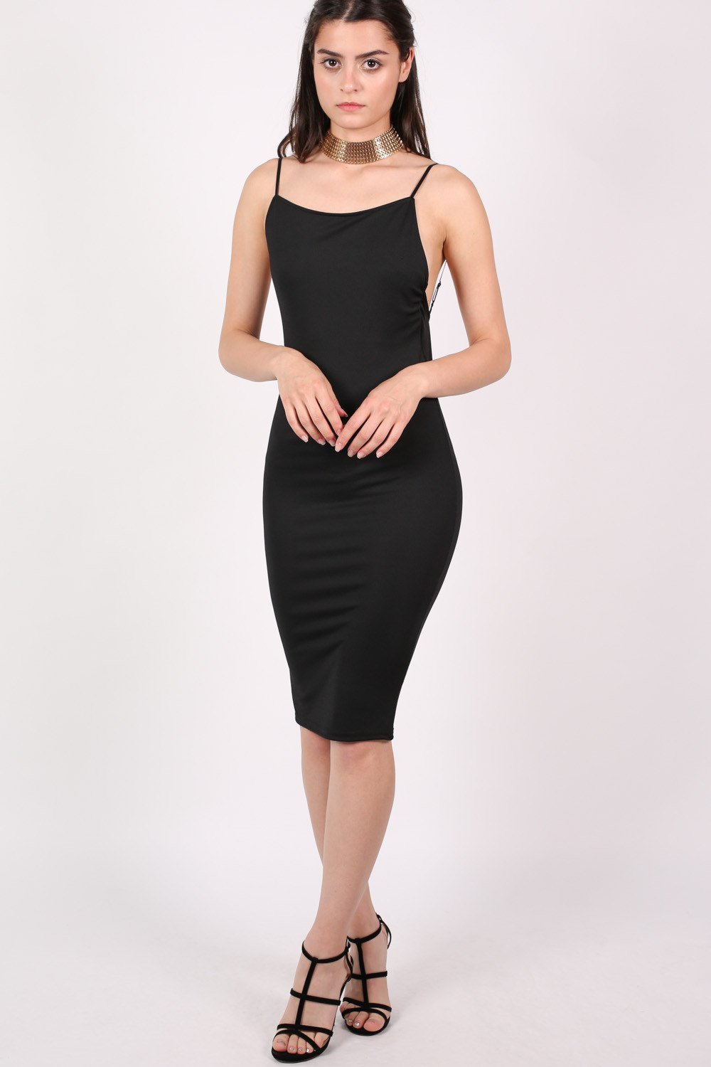 Low Back Strappy Crepe Midi Dress in Black 0