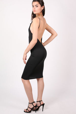 Low Back Strappy Crepe Midi Dress in Black 1