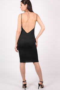 Low Back Strappy Crepe Midi Dress in Black 4