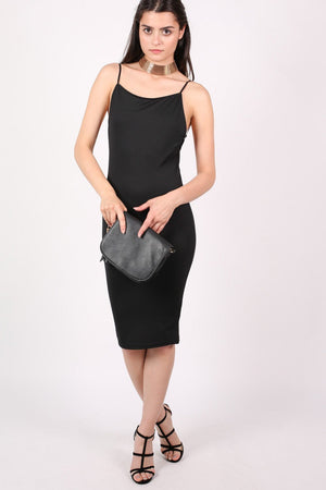 Low Back Strappy Crepe Midi Dress in Black 5