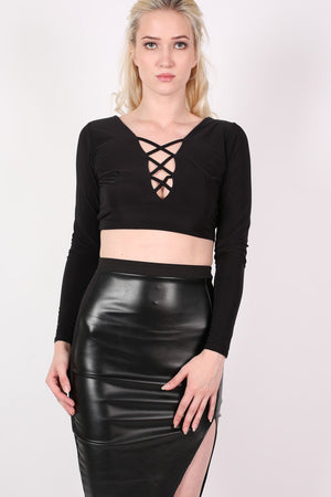 Slinky Lace Up Long Sleeve Crop Top in Black 3