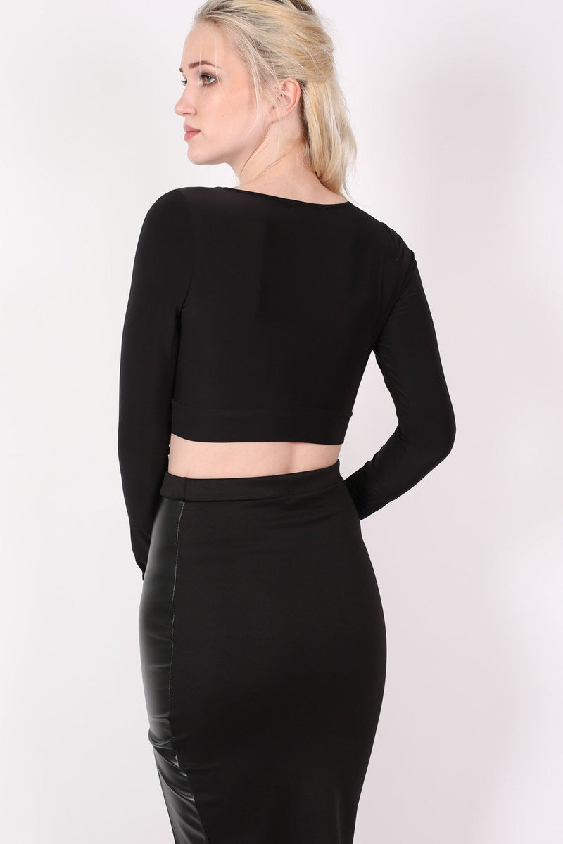 Slinky Lace Up Long Sleeve Crop Top in Black 4