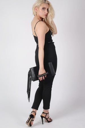 V Front Belted Jumpsuit in Black 1