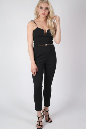 V Front Belted Jumpsuit in Black 2