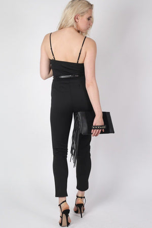 V Front Belted Jumpsuit in Black 3