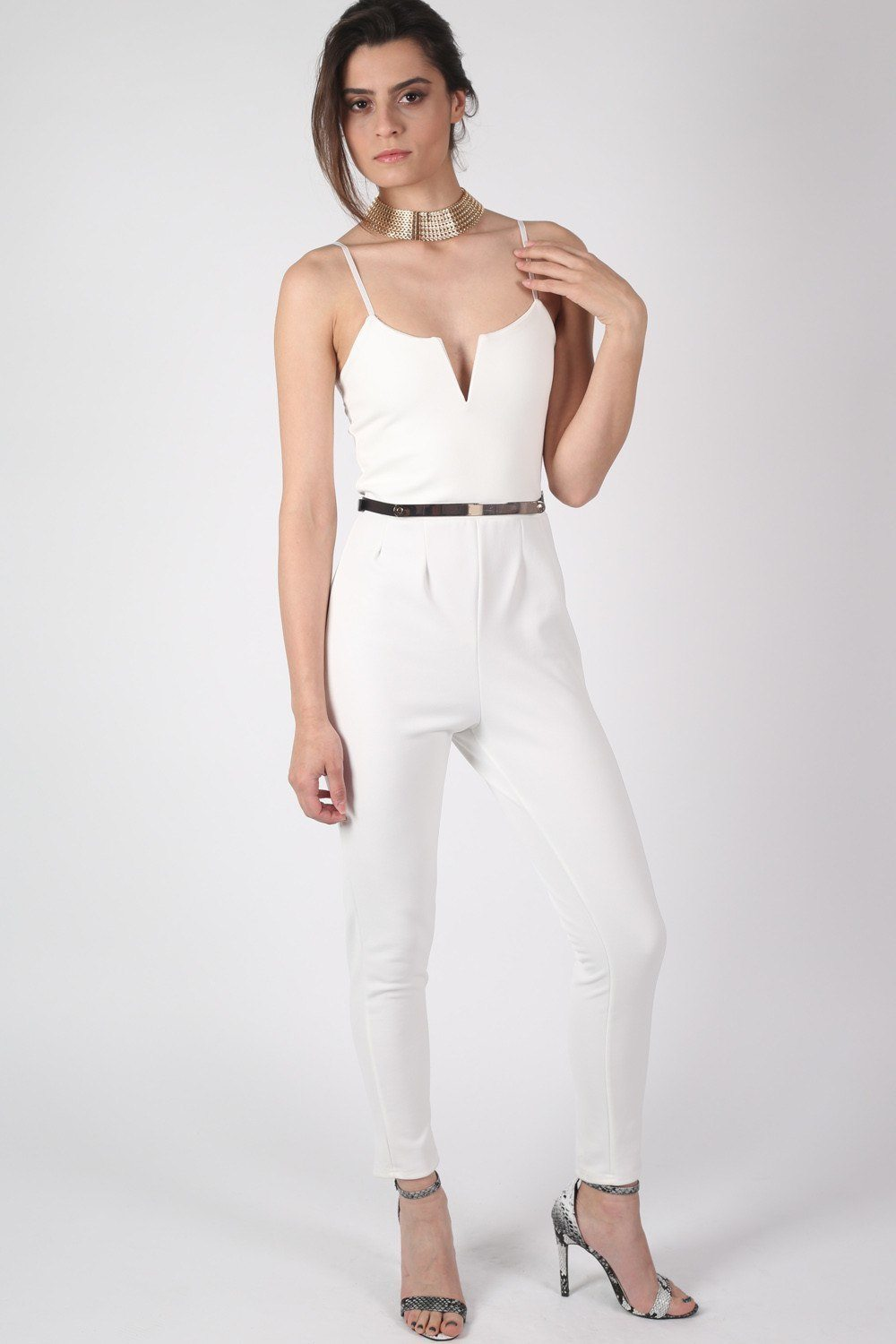 V Front Belted Jumpsuit in Cream 0