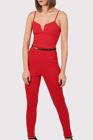V Front Belted Jumpsuit in Red 3