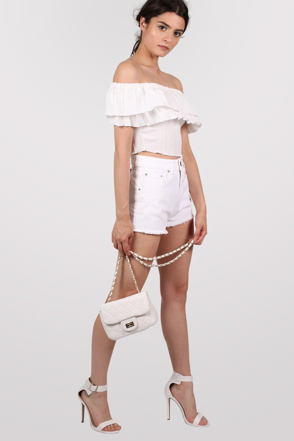 Frayed Edge Denim Shorts in White 0