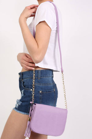 Tassel Detail Saddle Shoulder Bag in Lilac 0