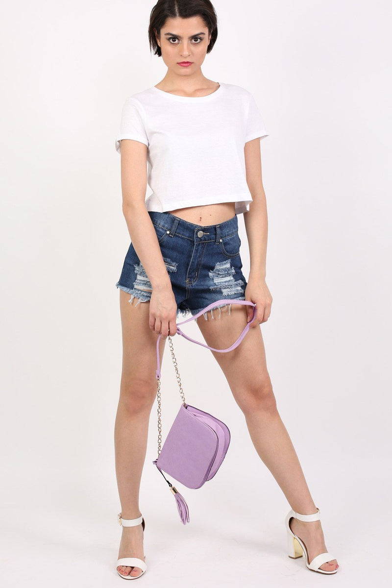 Tassel Detail Saddle Shoulder Bag in Lilac 1