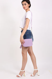 Tassel Detail Saddle Shoulder Bag in Lilac 2