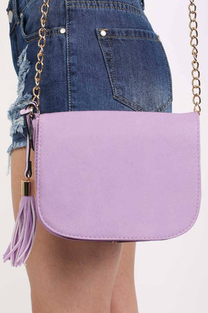 Tassel Detail Saddle Shoulder Bag in Lilac 3