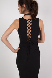 Deep V Front Lace Up Back Bodycon Midi Dress in Black 4