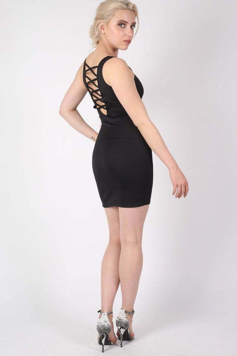 Criss Cross Back Bodycon Dress in Black 3