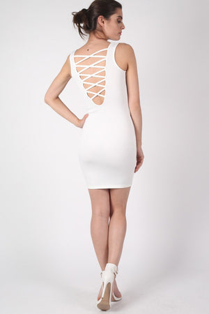 Criss Cross Back Bodycon Dress in Ivory White 0