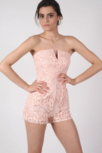 Bandeau Crochet Lace Playsuit in Nude 0