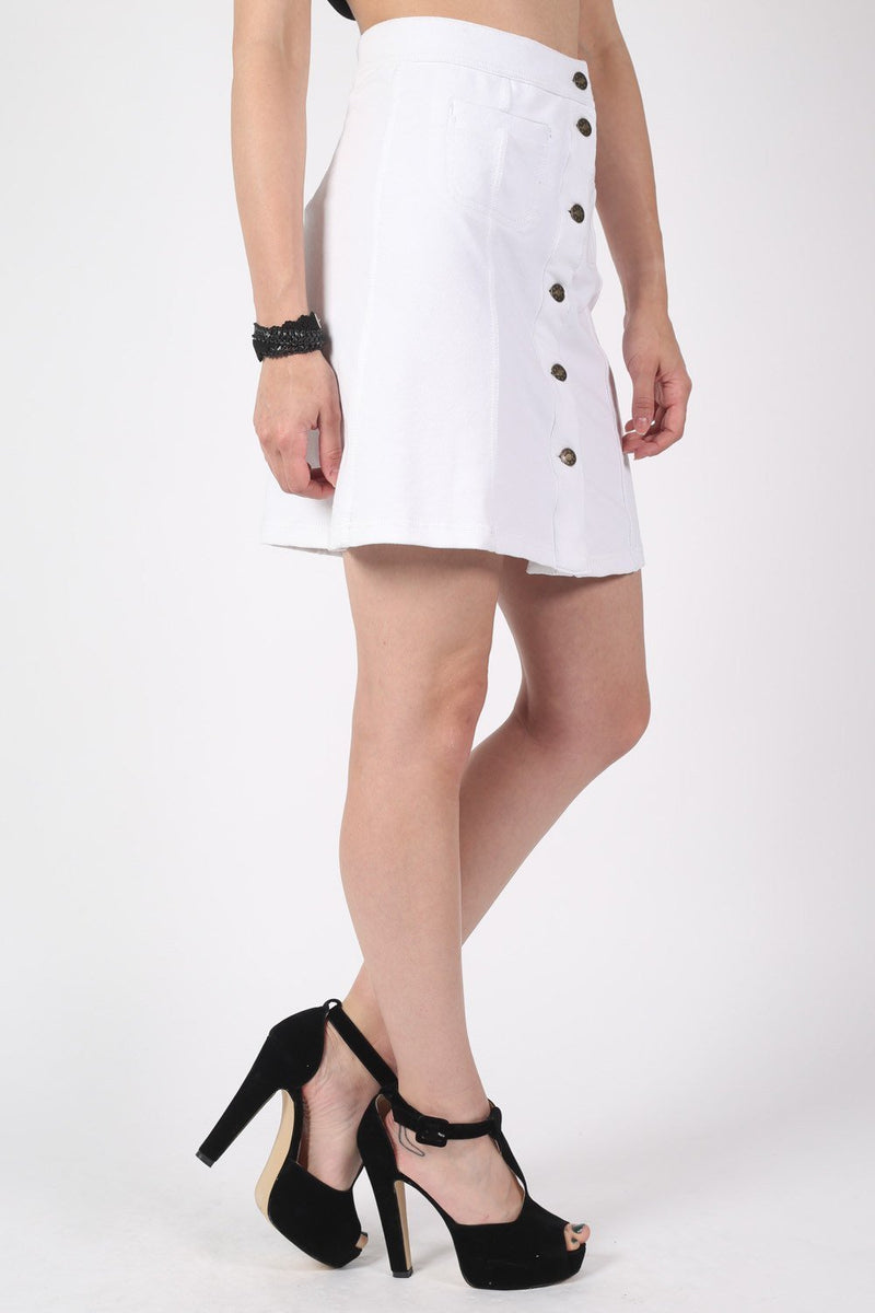 Patch Pocket Button Front Mini Skirt in White 2