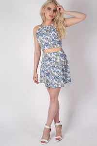 Floral Print A-Line Mini Skirt in Blue 3