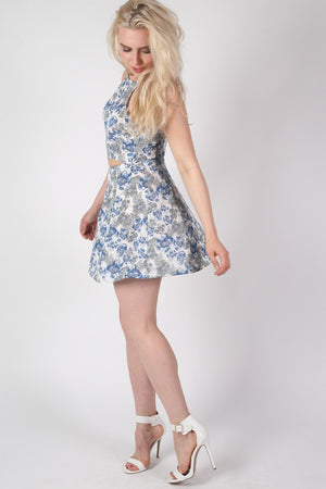 Floral Print A-Line Mini Skirt in Blue 4