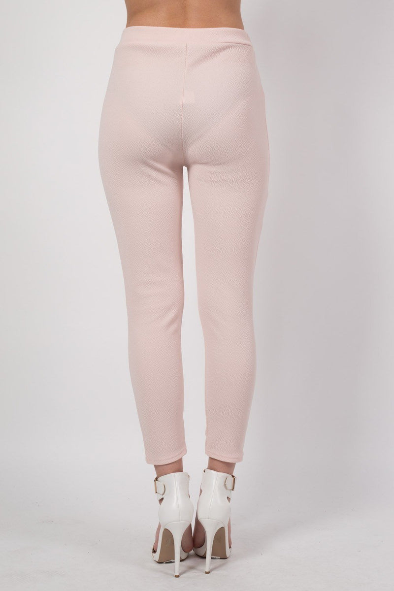 Textured Fabric Cigarette Trousers in Nude 3