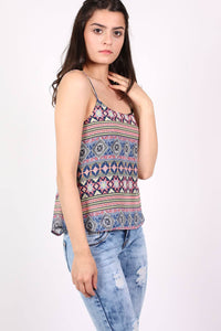 Tribal Print Cami Top in Dusty Blue 1