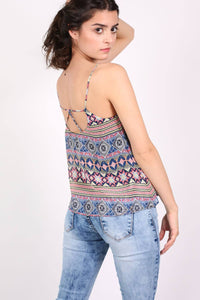 Tribal Print Cami Top in Dusty Blue 2