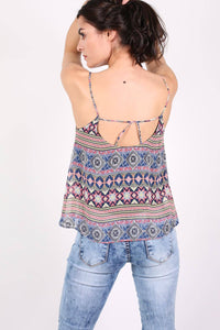 Tribal Print Cami Top in Dusty Blue 3