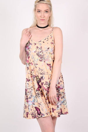 Butterfly Print Strappy Swing Dress in Beige 0