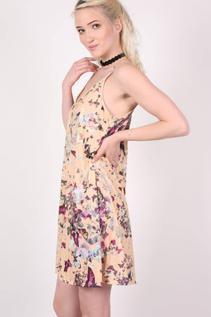 Butterfly Print Strappy Swing Dress in Beige 1