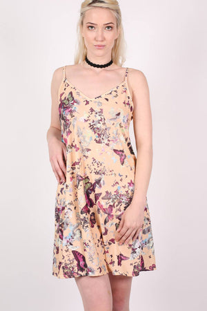 Butterfly Print Strappy Swing Dress in Beige 2