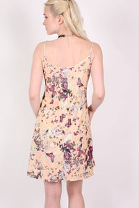 Butterfly Print Strappy Swing Dress in Beige 3