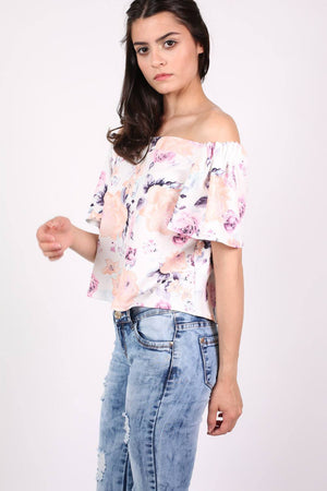Floral Off Shoulder Bardot Top in Cream 1