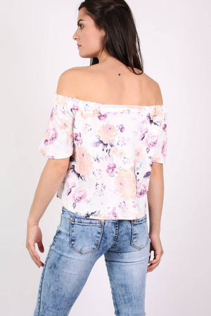 Floral Off Shoulder Bardot Top in Cream 2