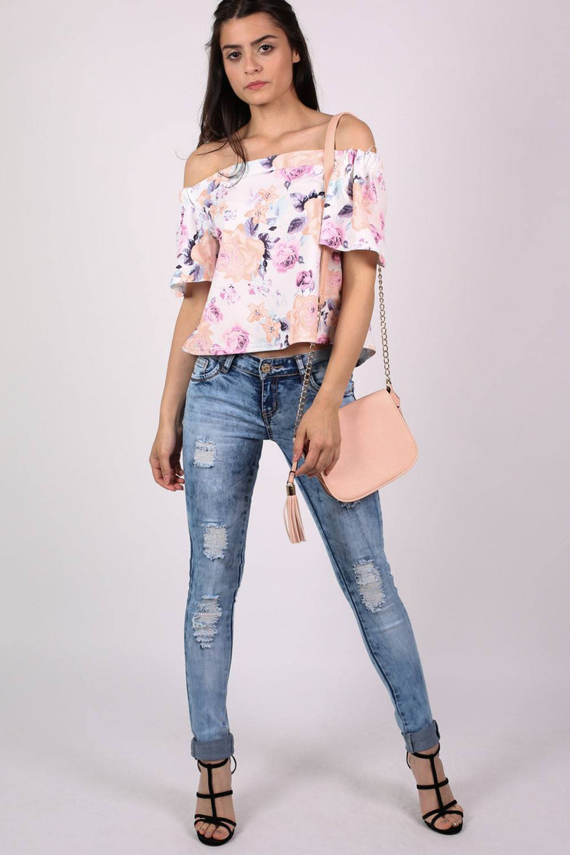 Floral Off Shoulder Bardot Top in Cream 3