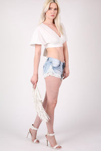 Deep V Neck Tie Back Angel Sleeve Crop Top in Cream 4