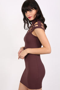 Caged Detail Bodycon Mini Dress in Purple 1