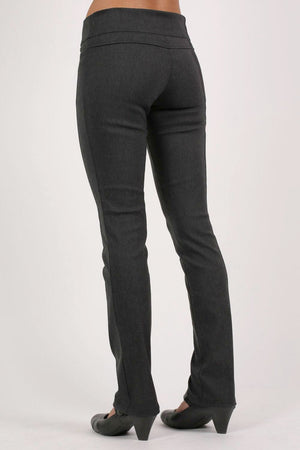 Extended Button Waistband Straight Leg Plain Trousers in Charcoal Grey 4