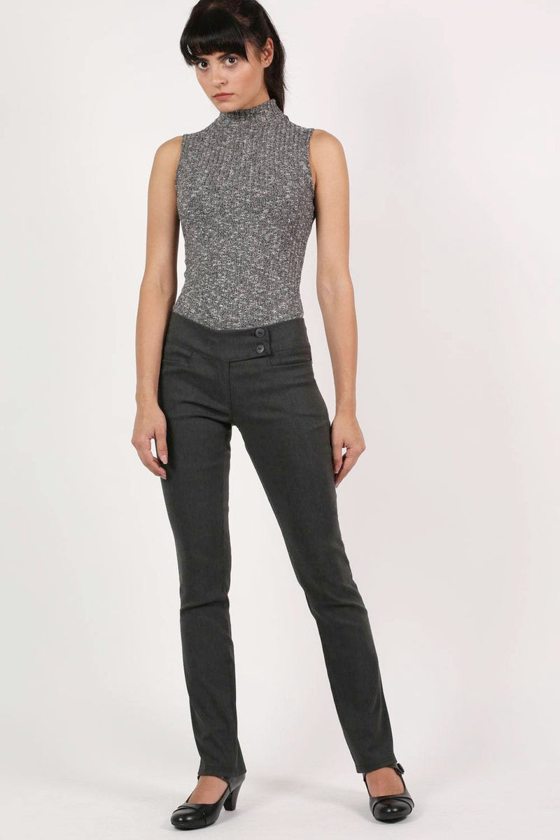Extended Button Waistband Straight Leg Plain Trousers in Charcoal Grey 5